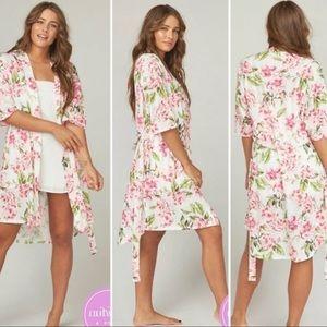 Show Me Your Mumu Short Wrap Robe Pink Rose Print